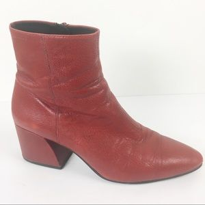 Vagabond Olivia Red Leather Ankle Boots